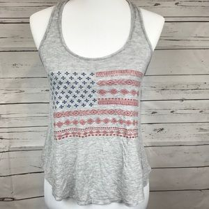 American Flag Textile Crop Top Tank Size Small